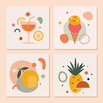 Set of trendy abstract summer cards in vector featuring lemon pineapple ice cream and drinks