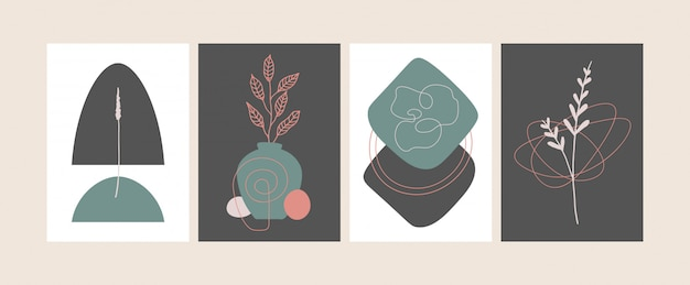 Set of trendy compositions with abstract botanical shapes vector illustration