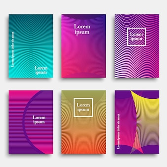 Set of trendy cover with geometric line shapes