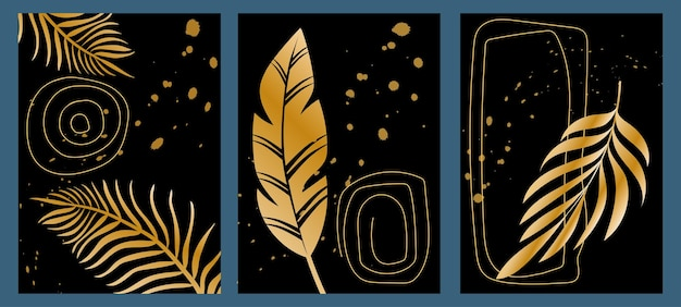 Set of trendy creative black with gold abstract templates