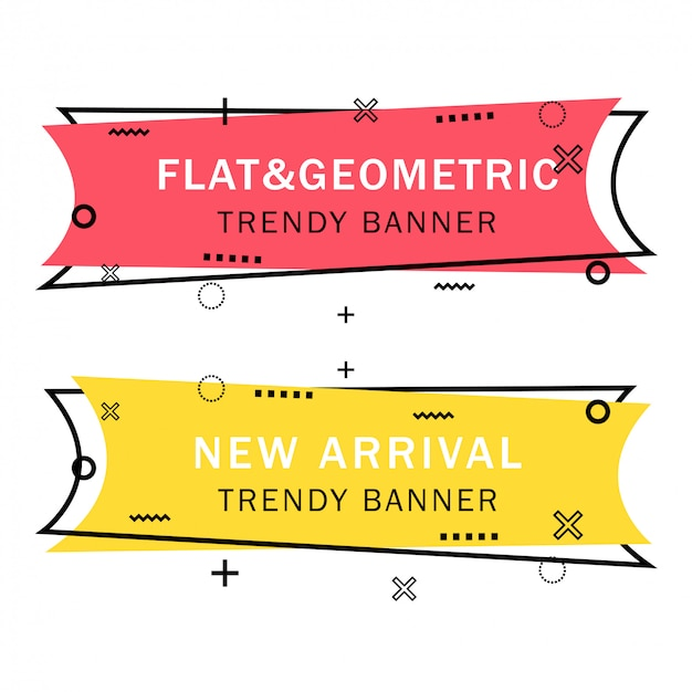 Set of trendy flat geometric banners
