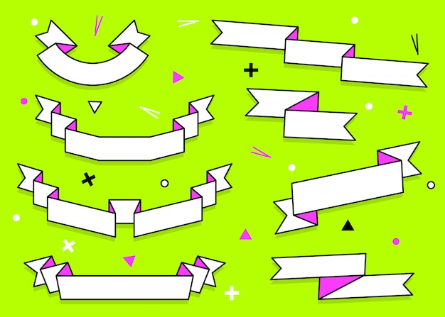 Set of trendy flat geometric  ribbons