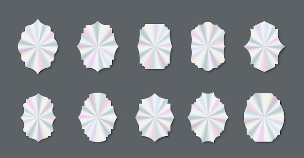 Set of trendy holographic colored stickers and decals of different shapes