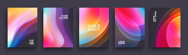 Set of trendy holographic gradient shapes for presentation