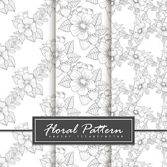 Set of trendy seamless floral pattern doodle style illustration