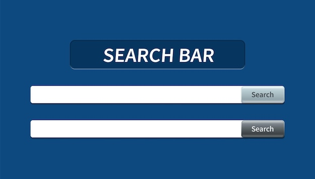 Set of trendy search bar with falling shadow and volumetric button. vector concept element for web design, app, software and interface design. ready search bar for website.