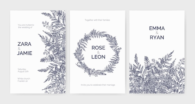 Set of trendy wedding invitation templates decorated with elegant ferns, wild herbs and herbaceous plants