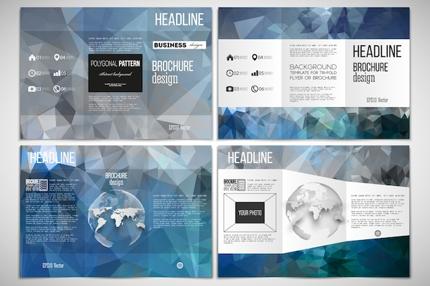 Set of tri-fold brochure design template