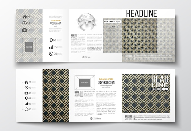 Set of tri-fold brochures, square design templates. islamic gold pattern