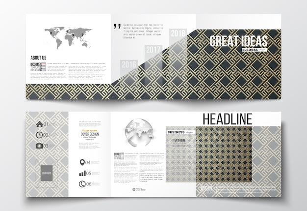 Set of tri-fold brochures, square design templates.