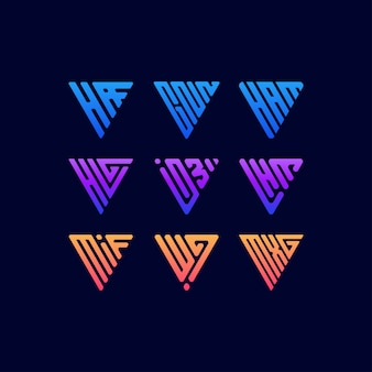 三角形のカラフルなロゴデザインを設定