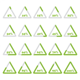 Set of triangle percentage diagrams from 5 to 100 for infographics