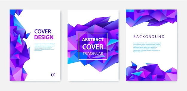 Set of triangle polygonal abstract background, facet crystal covers, flyers, brochures. colorful gradient design. low poly shape banner.