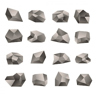 Set of triangular stones illustration on the white background