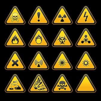 Set triangular warning signs hazard symbols