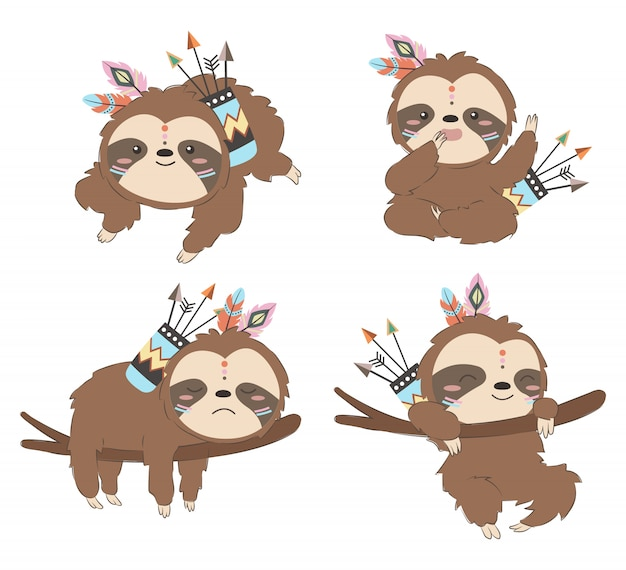 Set of tribal baby sloths illustration