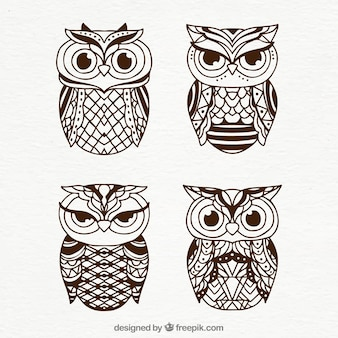 Set of tribal owls