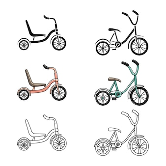 Set of tricycles. cycling. active lifestyle. line art