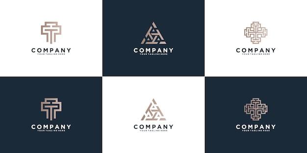 Set of triple t letter logo design template