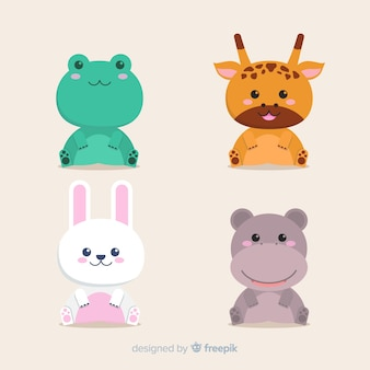 Set of tropical animals: frog, giraffe, rabbit, hippo. flat style design