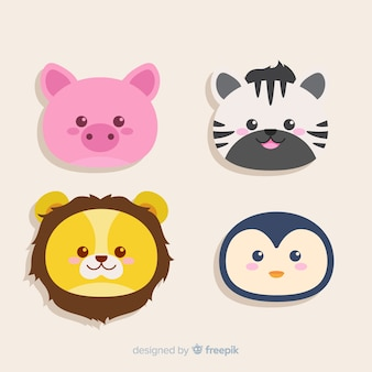 Set of tropical animals: pig, zebra, lion, penguin. flat style design