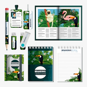 Set of tropical brochure with notebooks and usb memory