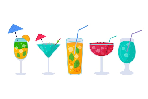 Set of tropical cocktails. alcoholic summer drinks in glasses on the beach, mojito, vodka, sambuca, martini, juices, bloody mary. holiday concept for party invitation, bar menu. vector illustration