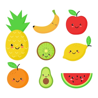 Set of tropical fruit in kawaii style