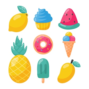 Set of tropical fruits ice cream and other summer food isolated. illustration vector.