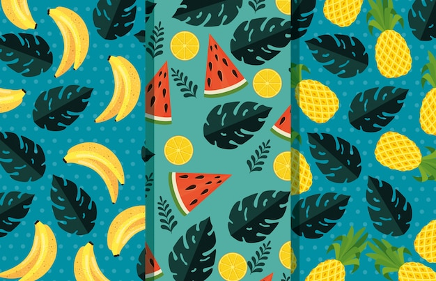 Set of tropical fruits with exotic leaves plants pattern