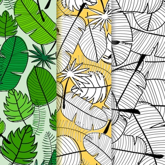 Set of tropical leaves pattern background.