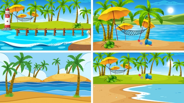 Set of tropical ocean nature scene or background with beaches
