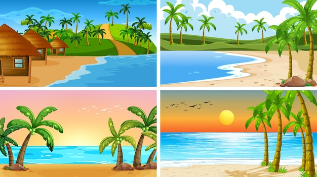 Set of tropical ocean nature scenes or background with beaches