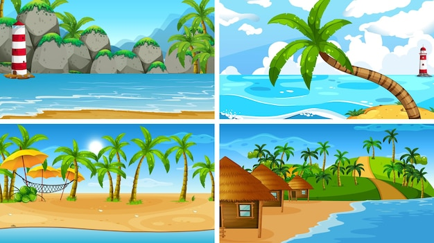 Set of tropical ocean nature scenes with beaches