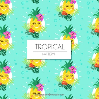 Set of tropical patterns with cute pineapples in flat style