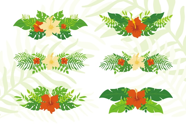 Set of tropical plants and floral wreaths, exotic tropical leaves wreaths and badge