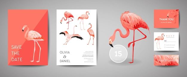Set of tropical retro wedding invitation card, modern save the date, template design of flamingo bird illustration. vector trendy cover, pastel graphic poster, brochure