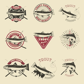 Set of trout fishing labels. fishing club, team emblems templates.