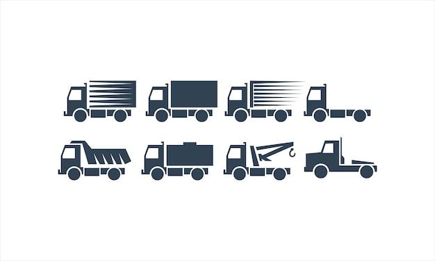 Set truck contruction logo design collection