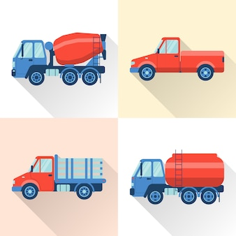 Set of truck in flat style