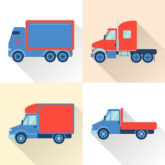 Set of truck icons in flat style