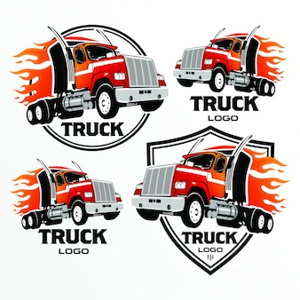 Set of truck logo, emblems and badges, vector illustration.