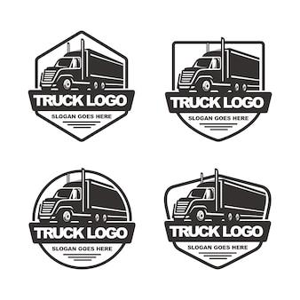 Set of truck logo template