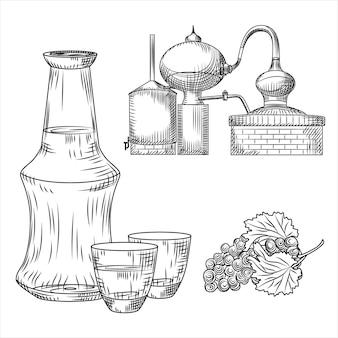ツィプロギリシャのアルコールを設定します。ガラス、ボトル、ブドウ、アランビック。彫刻ヴィンテージスタイルのイラスト。