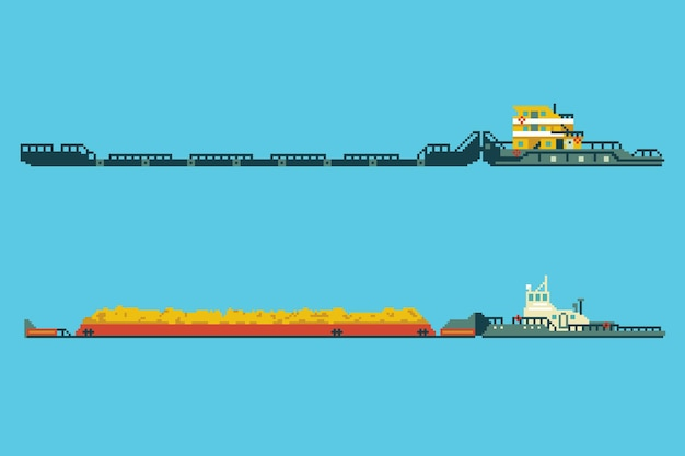 Set of tug with bulk cargo in 8 bit art style. colored pixel vector illustration.