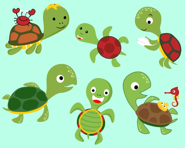 Set of turtle cartoon with little friends