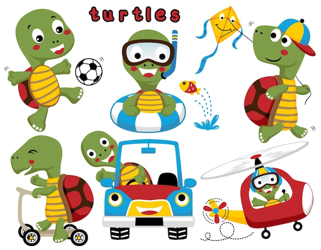 Set of turtle or tortoise cartoon with activities various playing