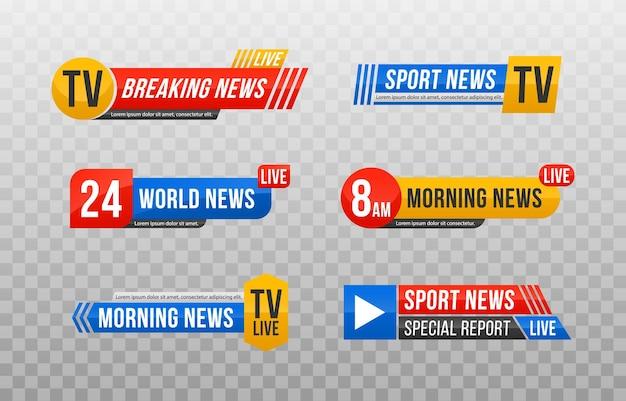 Set of tv news bar illustration