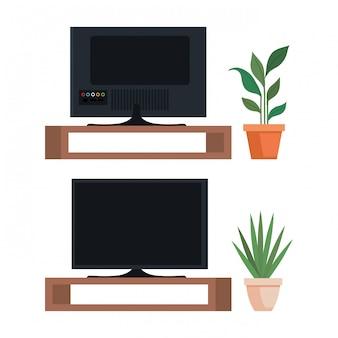 木製の引き出しにテレビのフラットスクリーンを設定する