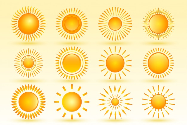 Set of tweleve shiny sun in different shapes